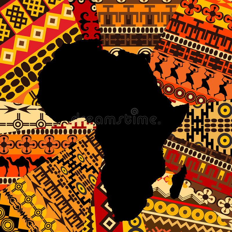 Africa map on ethnic background. Africa map on ethnic texture background