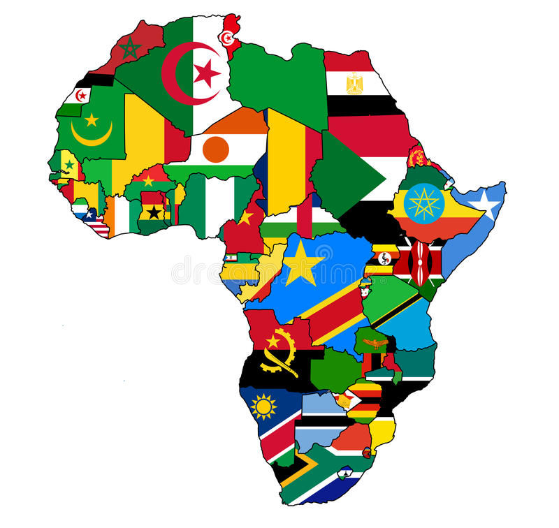 Africa map flag. Political map of africa with country flags