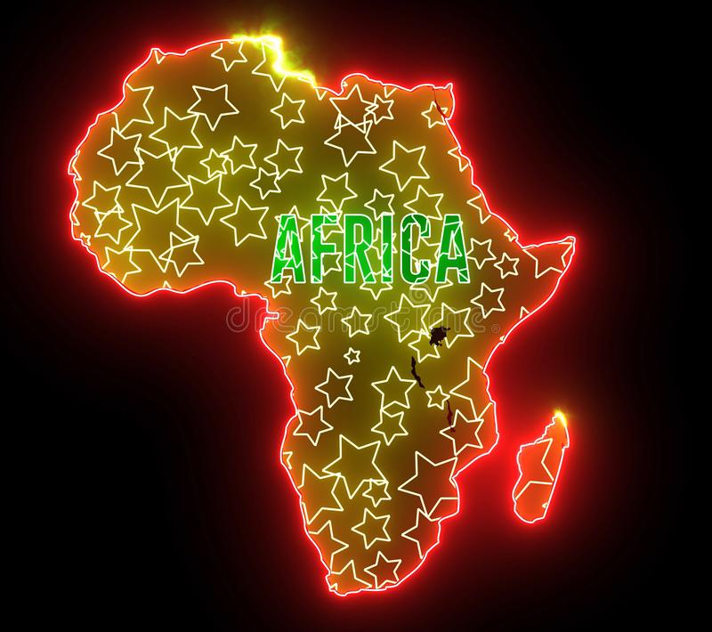 Africa map with neon light. Outline of continent Africa, shiny creative abstract lights royalty free illustration
