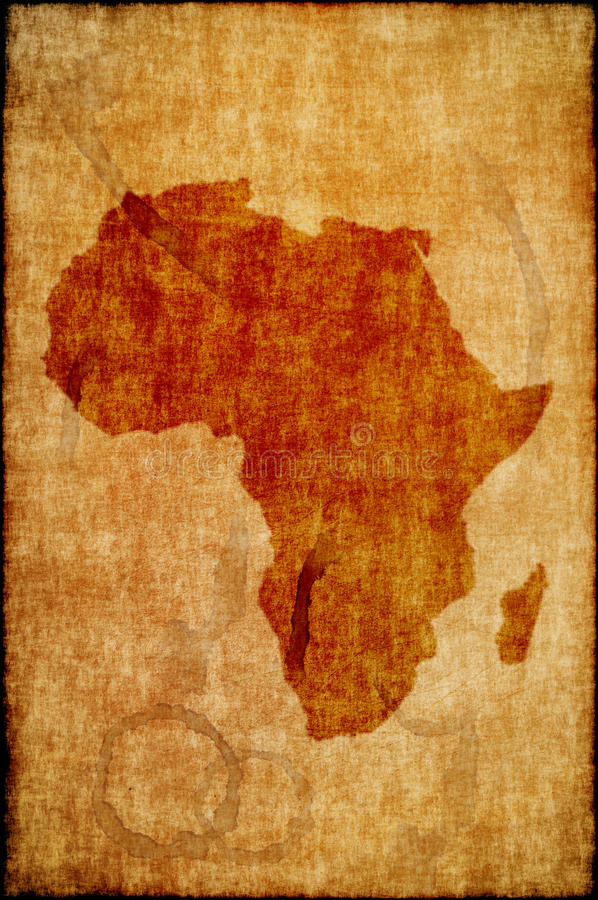 Africa map on old paper. Retro map stock photography