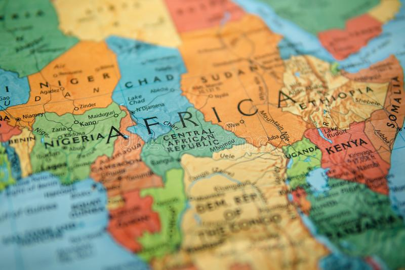 Africa on a map. Selective focus on label. Closeup shot royalty free stock image