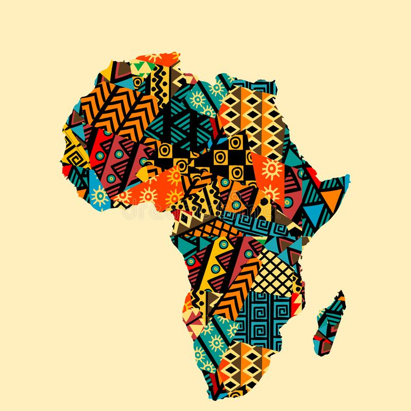 Free Africa Map With Ethnic Motifs Pattern Royalty Free Stock Images - 160723139