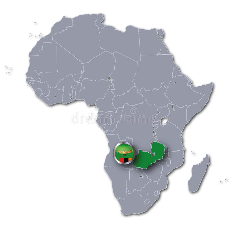 Africa map with Zambia royalty free illustration