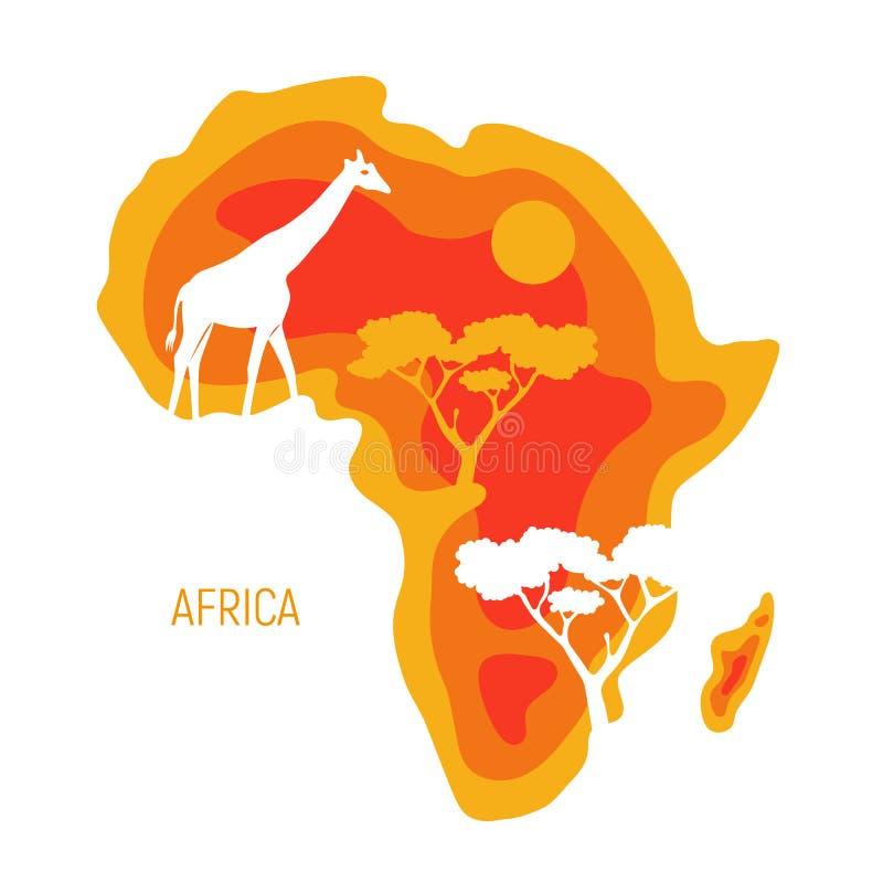 africa Mapa Afryka kontynent z dzikie zwierzę sylwetkami Papieru r?ni?tego eco ?yczliwy projekt r?wnie? zwr?ci? corel ilustracji  ilustracja wektor