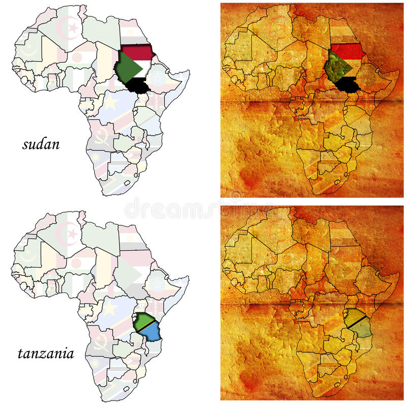 africa mapa Sudan Tanzania ilustracji