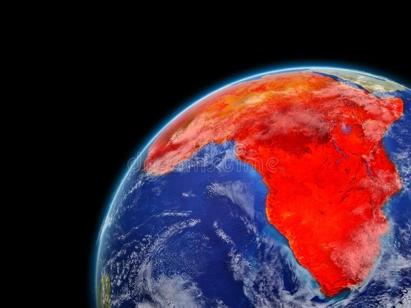Africa on model of planet Earth with very detailed planet surface and clouds. Continent highlighted in red. 3D illustration. Elements of this image furnished royalty free illustration
