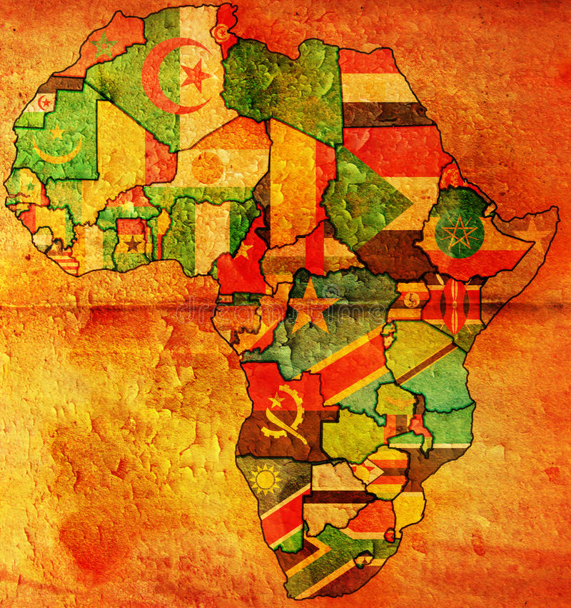 Africa old map flag