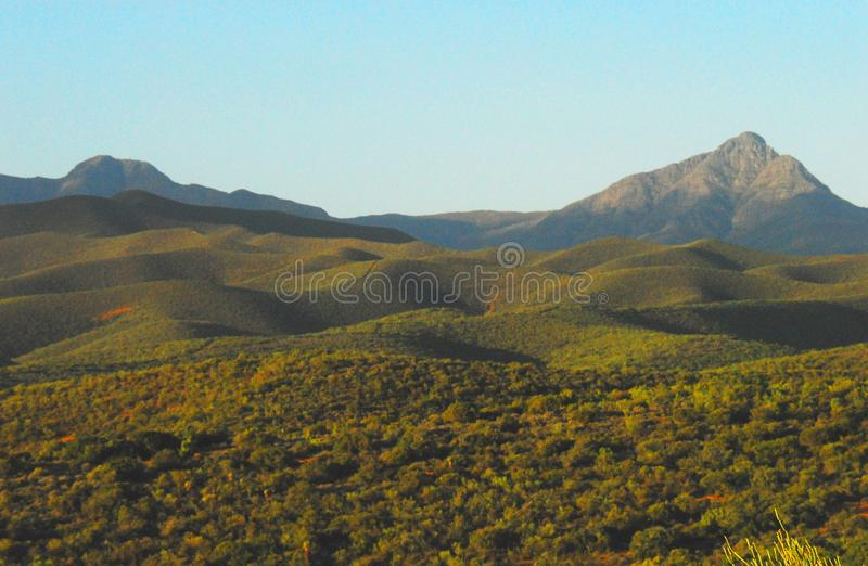 Africa- Panorama of the Beautiful Rolling Hills and Peaks royalty free stock image