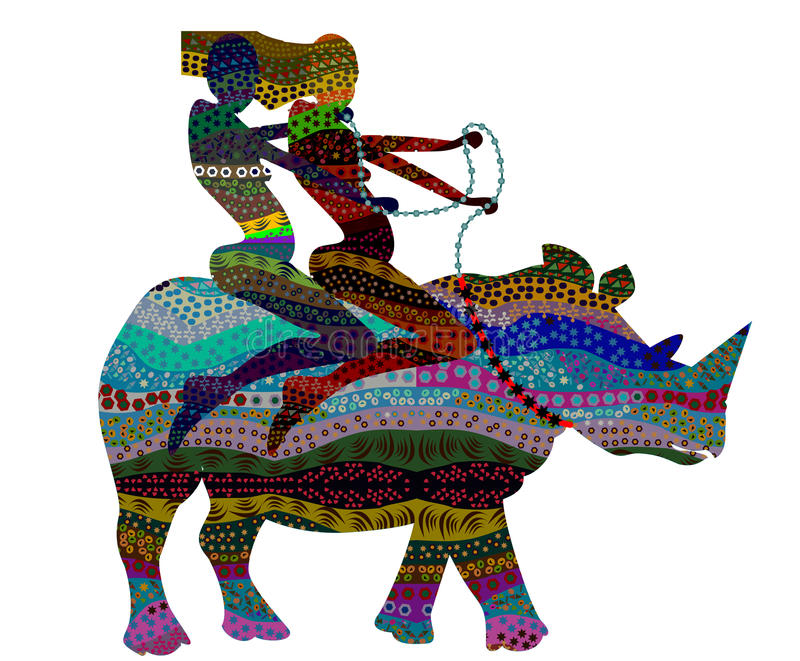 Africa. People in ethnic style on the back of a wild rhino stock illustration