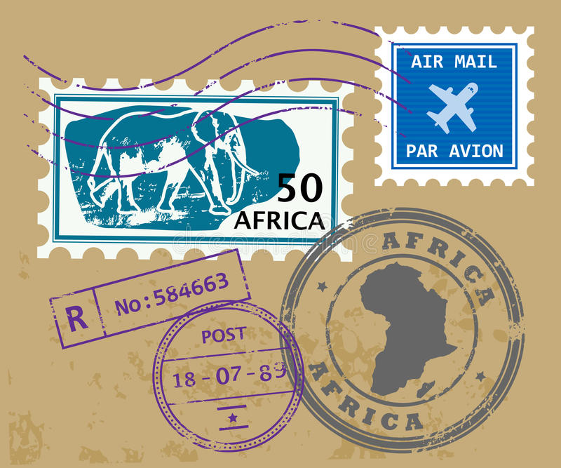 Download Africa post stamps stock vector. Image of label, africa - 25117996