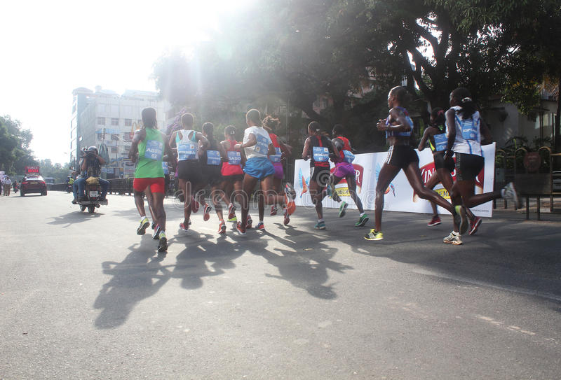 Africa professional athletes in bangalore marathon. Bangalore, India - May 27: Professional athletes from Africa and other countries participate in Tata stock photo