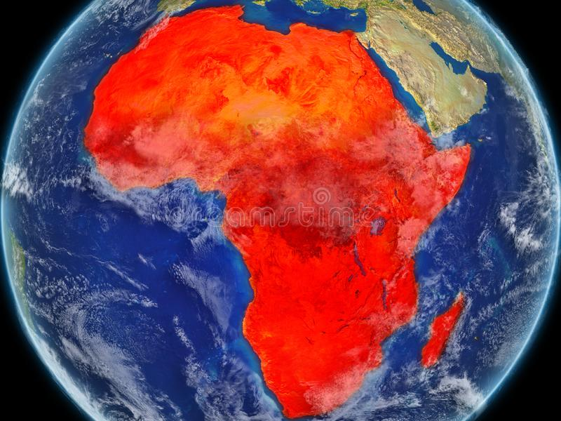 Africa on realistic model of planet Earth with very detailed planet surface and clouds. Continent highlighted in red colour. 3D. Illustration. Elements of this royalty free illustration