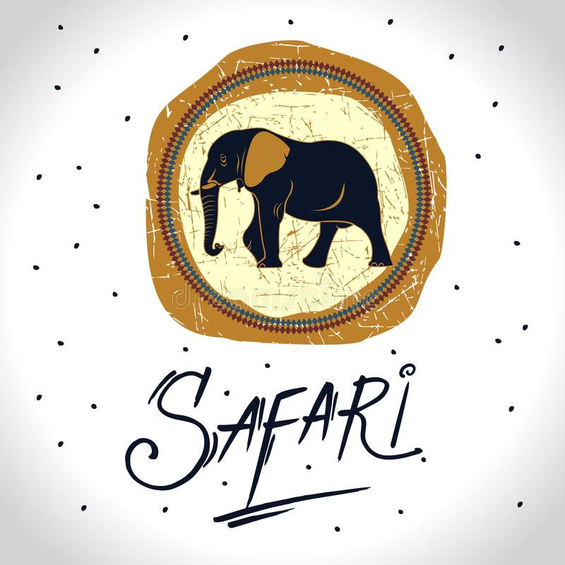 Africa and Safari with the elephant logo vector illustration