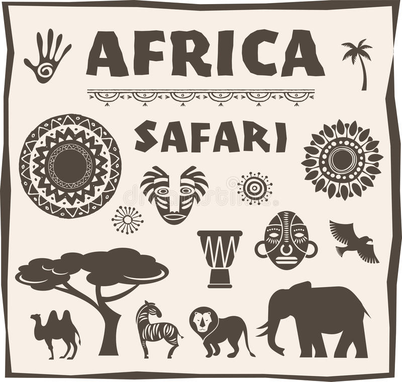 Africa, Safari icon and element set stock illustration