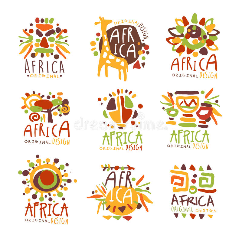 Africa set for logo original design. Travel to Africa colorful hand drawn vector llustrations. For use in the tourist industr stock illustration