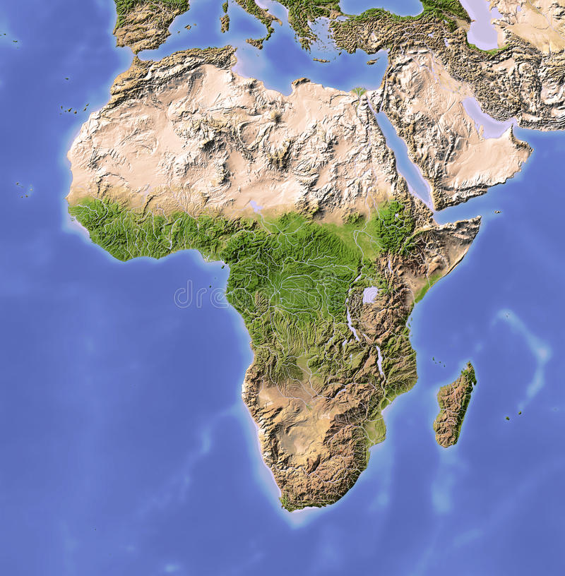 Free Africa, Shaded Relief Map Royalty Free Stock Images - 10514209
