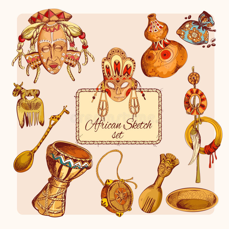 Africa sketch colored icons set royalty free illustration