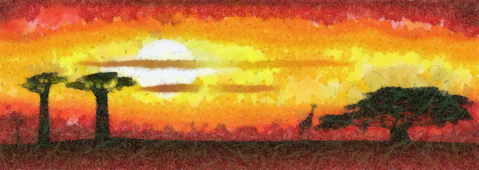 Africa sunset - abstract illustration. Abstract illustration of the Africa sunset royalty free illustration