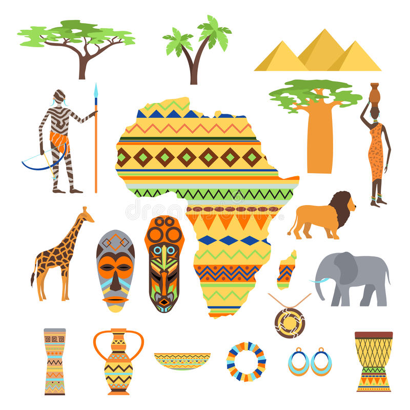 Africa Symbols And Travel Vector Set Stock Vector Illustration Of