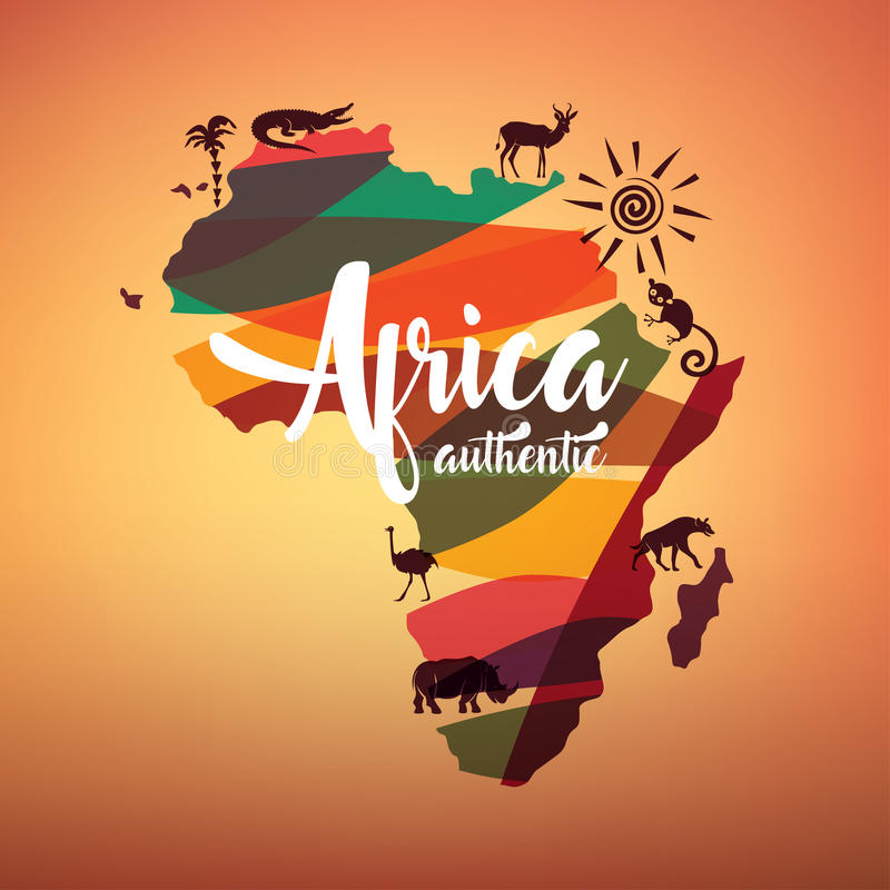 Africa travel map, decorative symbol of Africa. Continent with wild animals silhouettes stock illustration