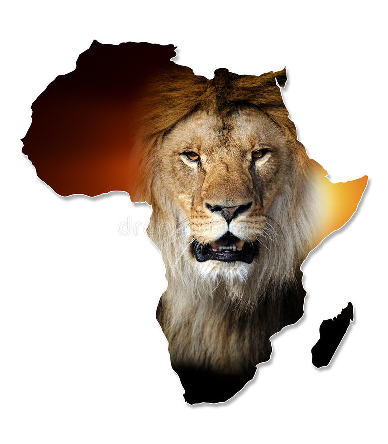 Africa Wildlife Map Design stock photography