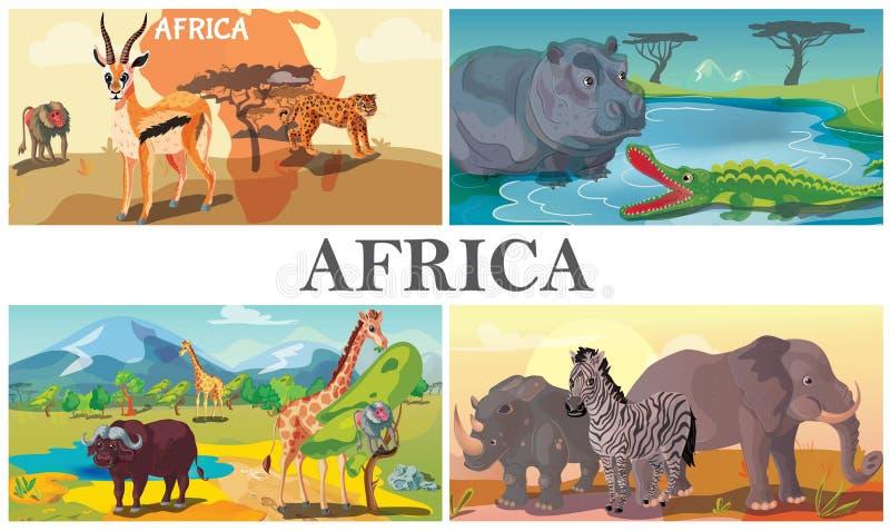 Africain Safari Animals Composition illustration libre de droits