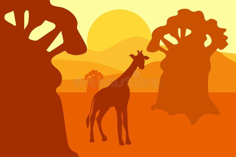Africain Safari Park Landscape illustration de vecteur