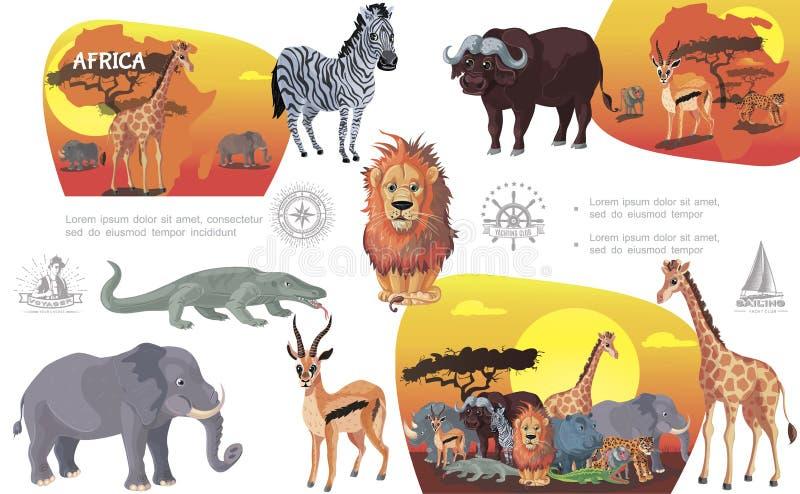 Africain Savannah Animals Composition de bande dessin?e illustration stock