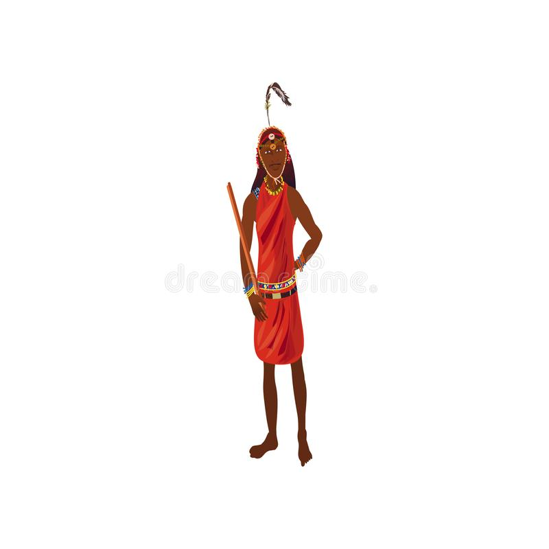 African aborigine musician in red colorful clothes with bird feather. African aborigine musician in red colorful clothes with bird long feather. Cartoon style vector illustration