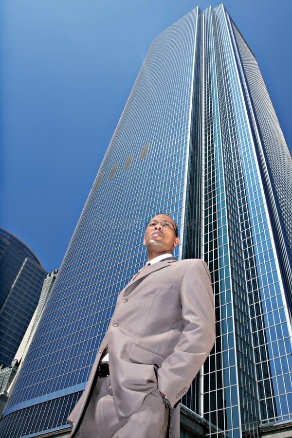 African Amercian Businessman Outdoors Looking Onwa Stock Photo