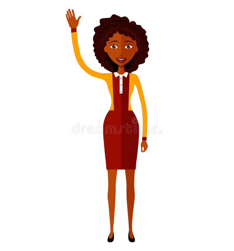 African american animation woman waving her hand flat cartoon royalty free stock photography