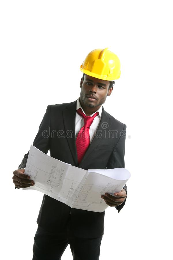 African american architect engineer yellow hardhat stock images