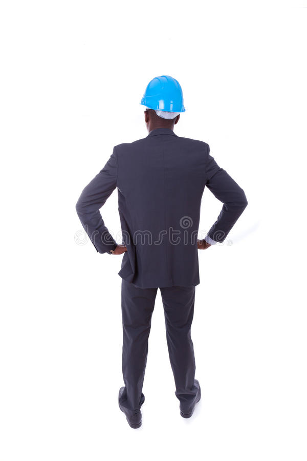 African American architect isolated on white background - black people royalty free stock photography