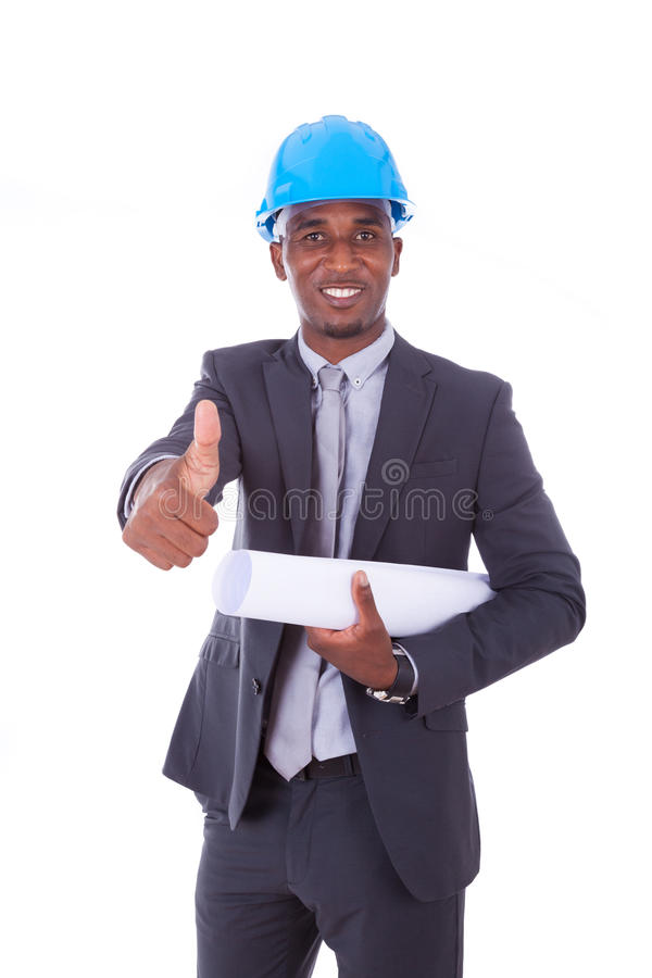 African American architect making thumbs up isolated on white b stock photography