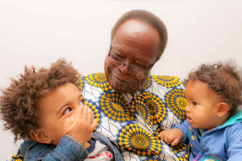 African American Babies Grand Father. Mixed Race royalty free stock photo