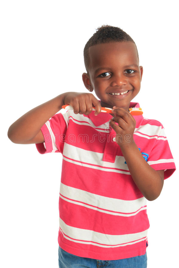 African American Black Child Tooth Brush Stock Image
