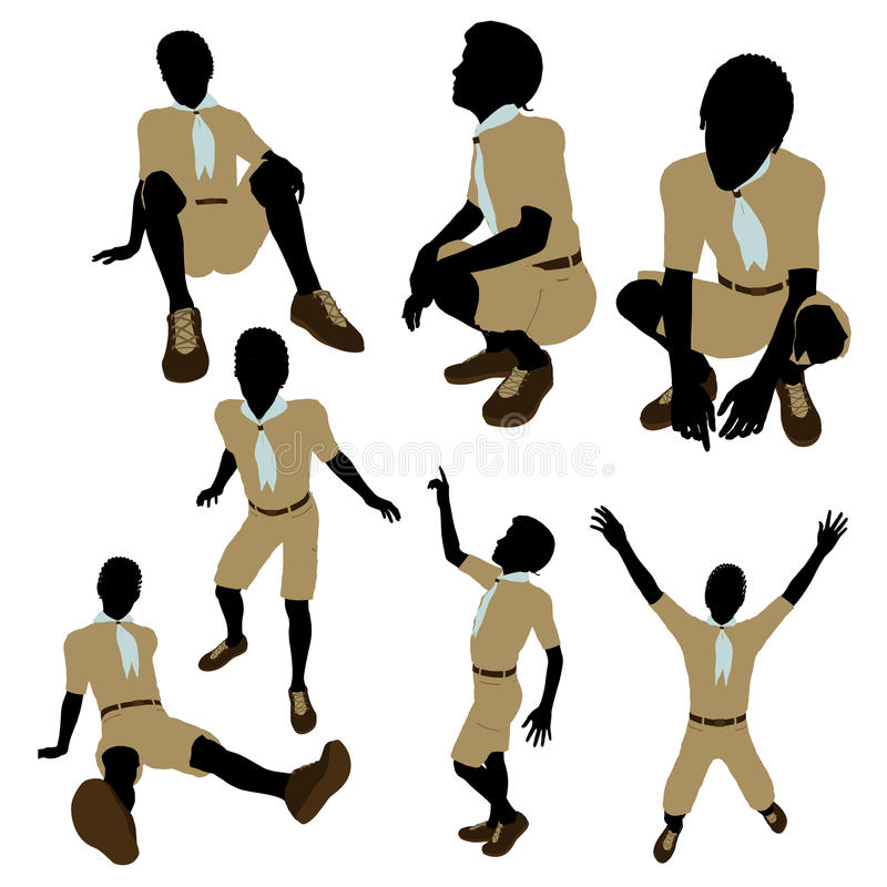 Download African American Boy Scout Illustration Silhouette Stock Illustration - Image: 16172052
