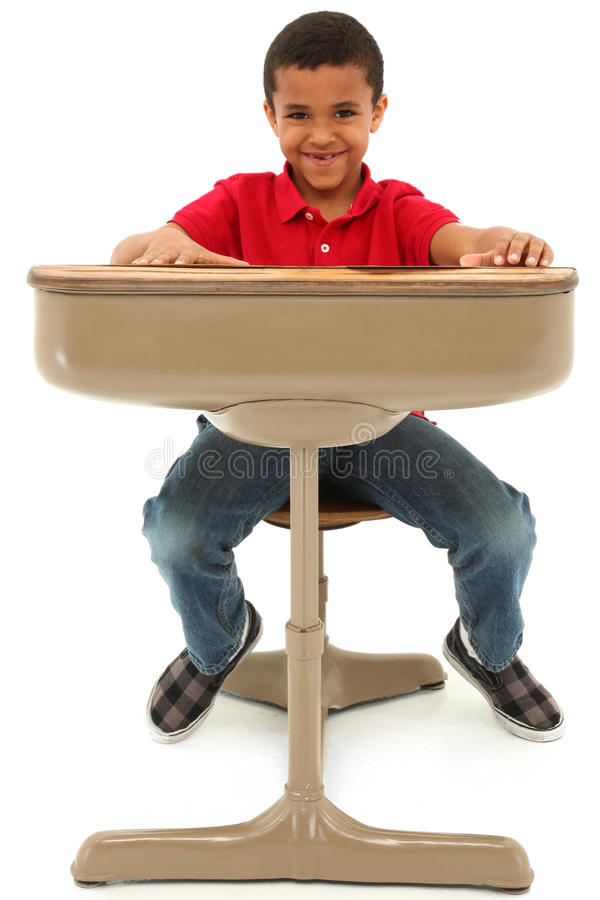 Download African American Boy Sitting In A Desk Stock Image - Image: 24015913