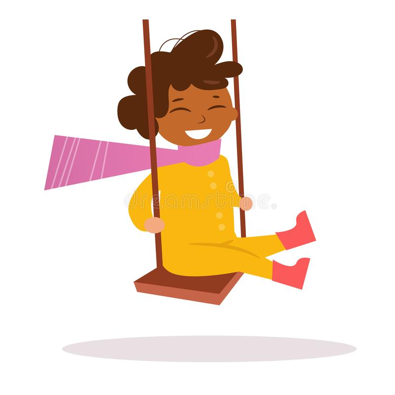 African-American boy swinging on a swing vector illustration