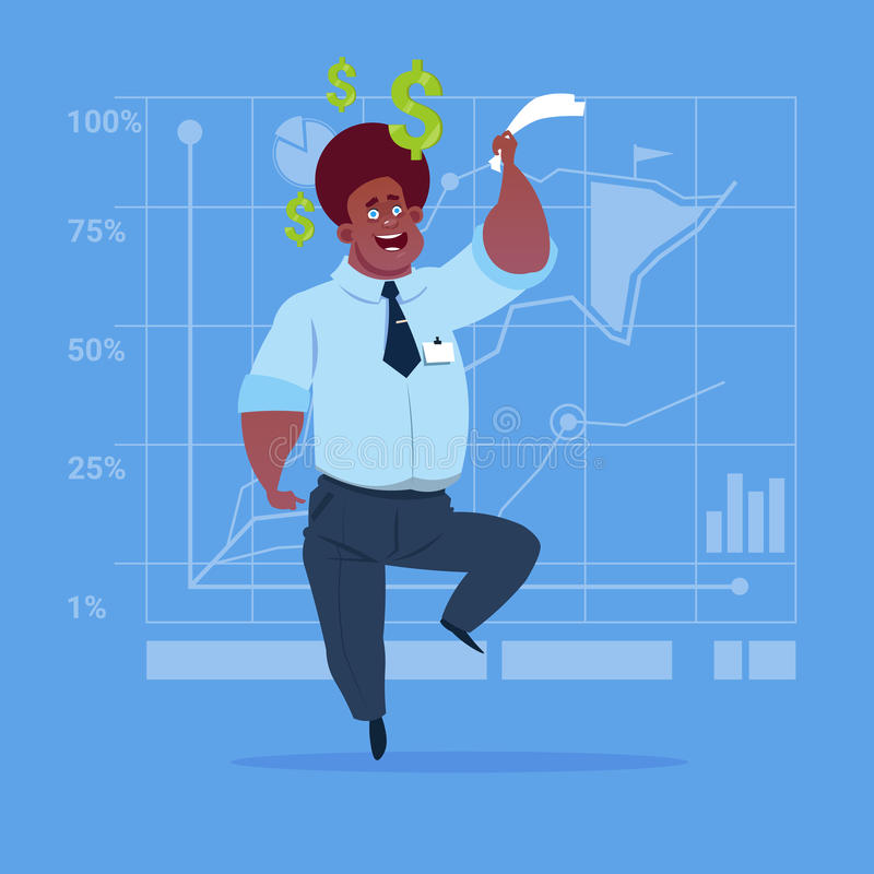 African American Business Man With Dollar Sign Over Finance Chart Graph Background Money Success Concept. Flat Vector Illustration stock illustration