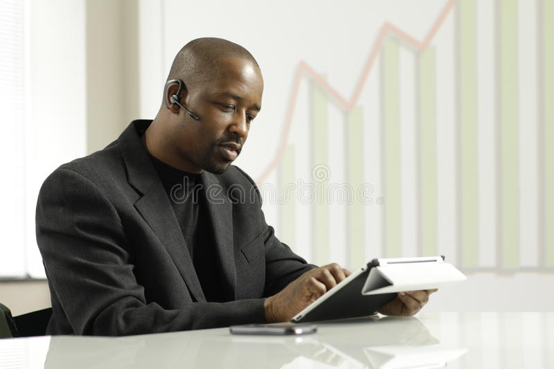 African American business man on a sales call stock photography