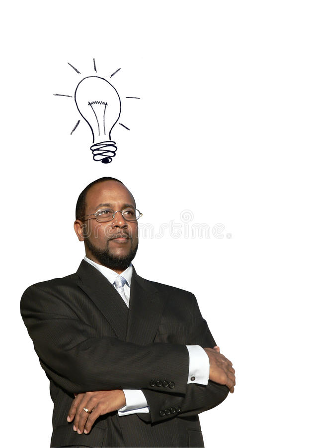 African american business man w great idea. Photo collage concept of a african american business man in deep thought with a illustrated idea bulb to depict a stock photography