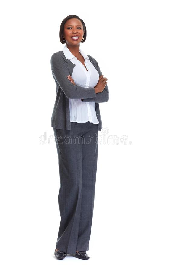 African-American business woman. Beautiful afro american business woman isolated white background royalty free stock image