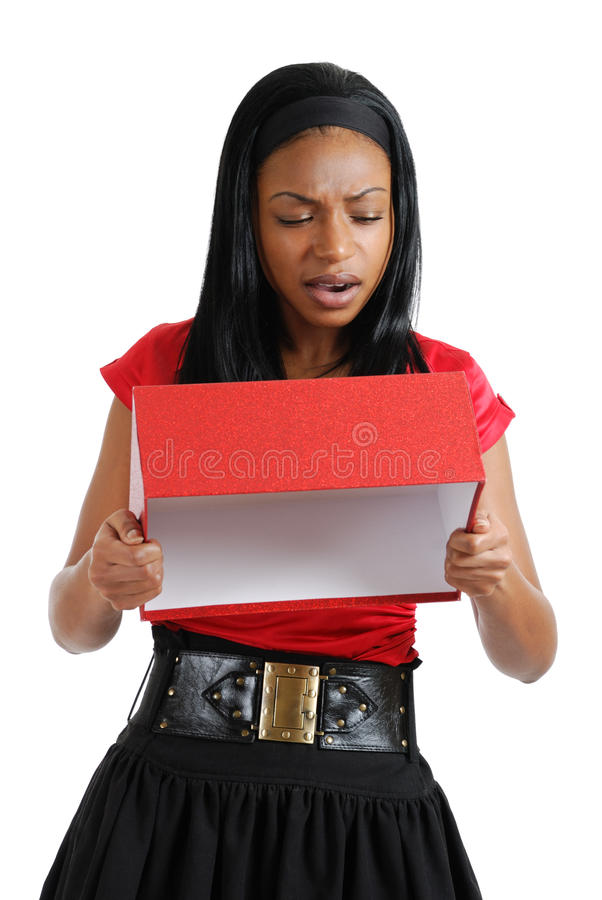 Download African American Business Woman Emptying Gift Box Stock Image - Image: 12021459