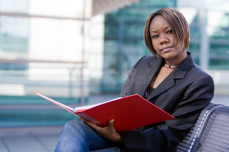 Download African American Business Woman With Folder Stock Photo - Image: 8060230