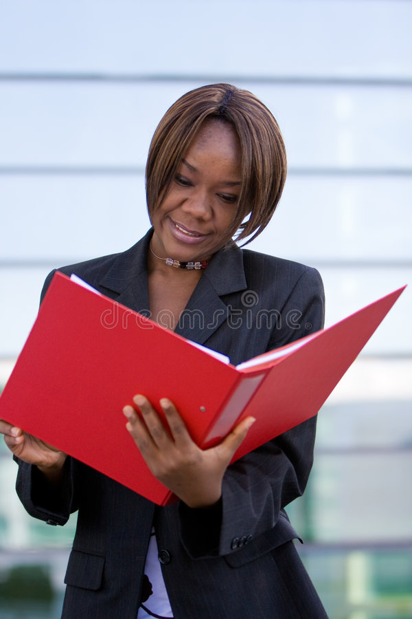 Download African American Business Woman With Folder Stock Photo - Image: 8496210