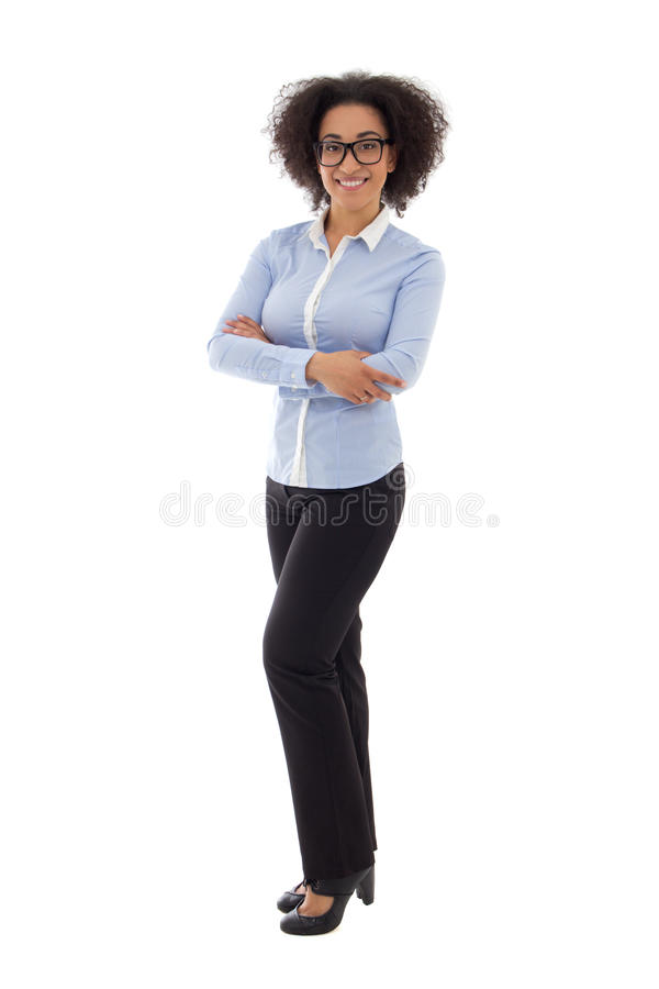 African american business woman isolated on white. Background stock photography