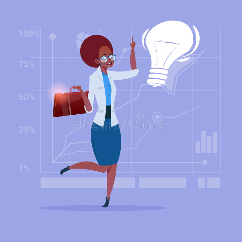 African American Business Woman New Creative Idea Concept With Light Bulb. Flat Vector Illustration vector illustration
