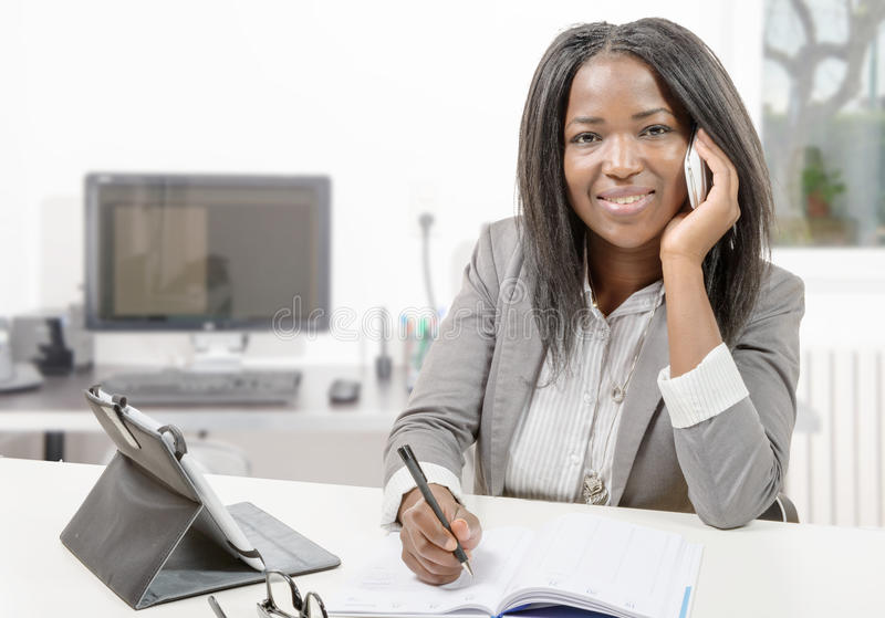 African american business woman working with tablet royalty free stock images