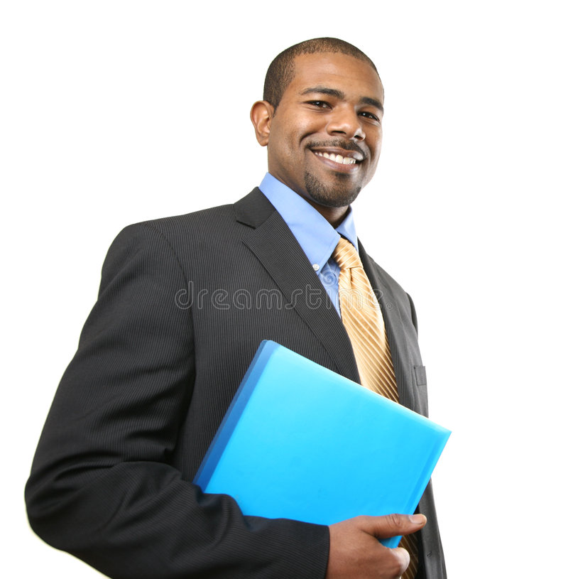 African American businessman. Isolated over white royalty free stock photo